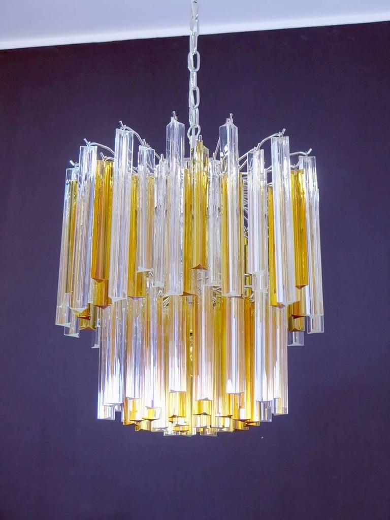 Blown Glass Vintage Murano Chandelier, 107 Prism Triedri, Arianna Model, Amber and Traspa