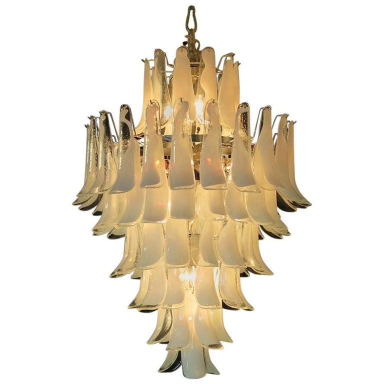 Chandelier Mazzega Murano, Italy, 84 Glass Petals For Sale