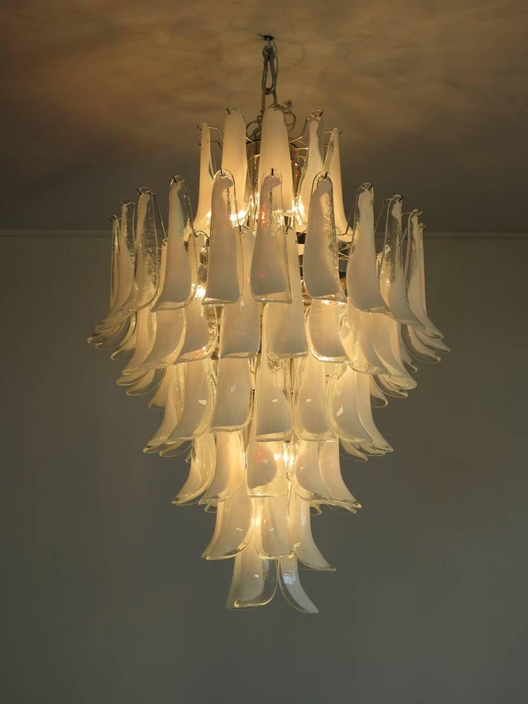 Late 20th Century Chandelier Mazzega Murano, Italy, 84 Glass Petals For Sale
