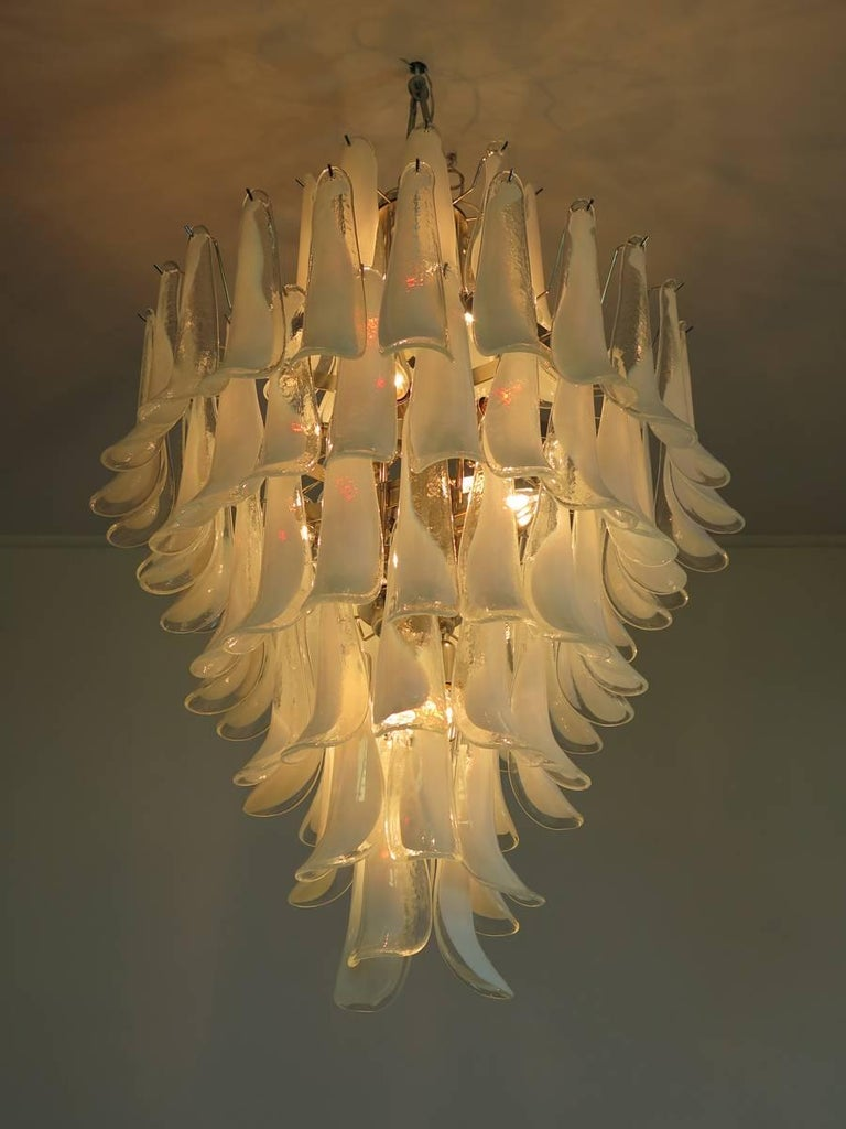 Blown Glass Chandelier Mazzega Murano, Italy, 84 Glass Petals For Sale