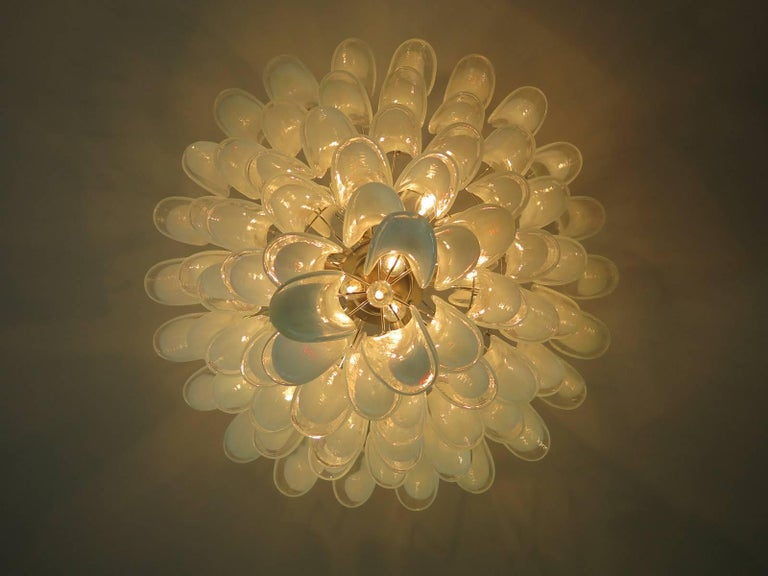 Chandelier Mazzega Murano, Italy, 84 Glass Petals For Sale 1