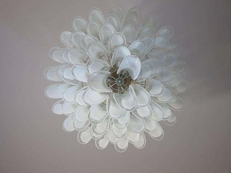 Chandelier Mazzega Murano, Italy, 84 Glass Petals For Sale 3