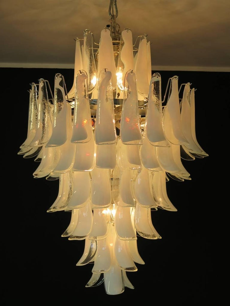 Chandelier Mazzega Murano, Italy, 84 Glass Petals For Sale 5