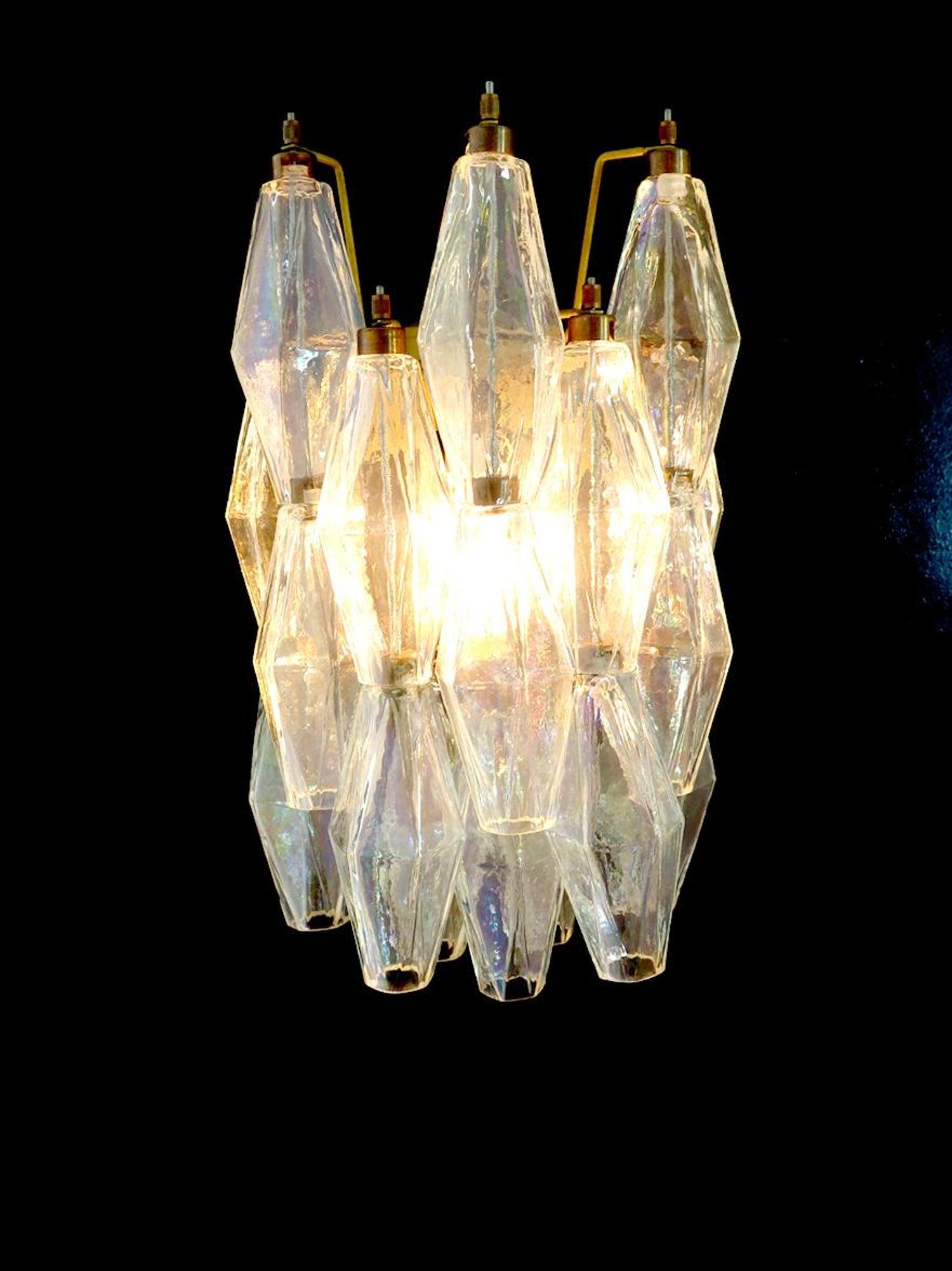 Pair of Vintage Murano Italian Poliedri Iridescent Glass Wall ...