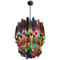 Murano Big Chandelier, 107 Transparent Prism Quadriedri, Elena Model