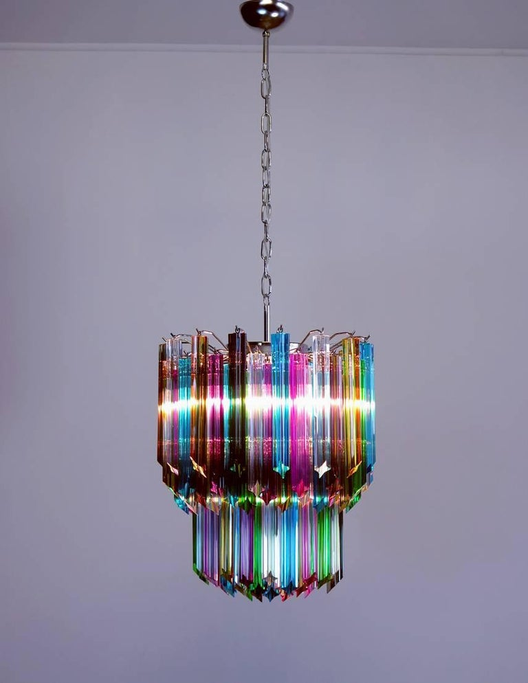 Fantastic and big Murano chandelier made by 107 Murano crystal multicolored prism in a nickel metal frame. Period: Late 20th century Dimensions: 51.20 inches height (130 cm) with chain; 25.60 inches height (65 cm) without chain; 18.50 inches