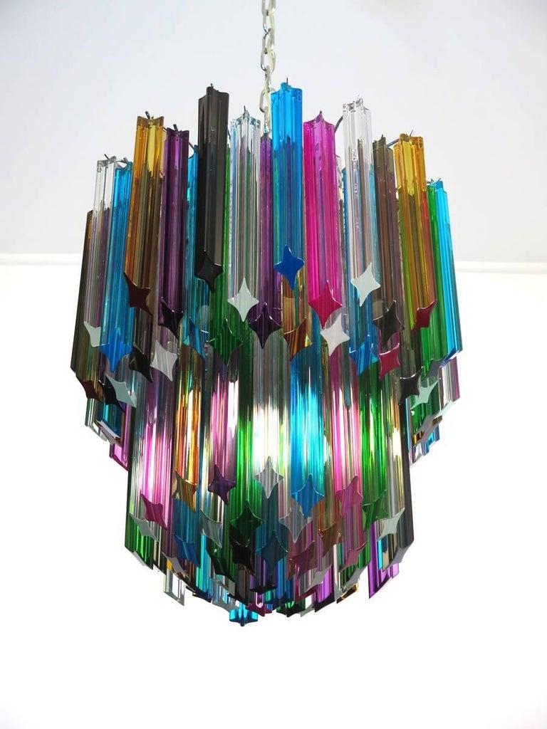 Late 20th Century Murano Big Chandelier, 107 Transparent Prism Quadriedri, Elena Model For Sale