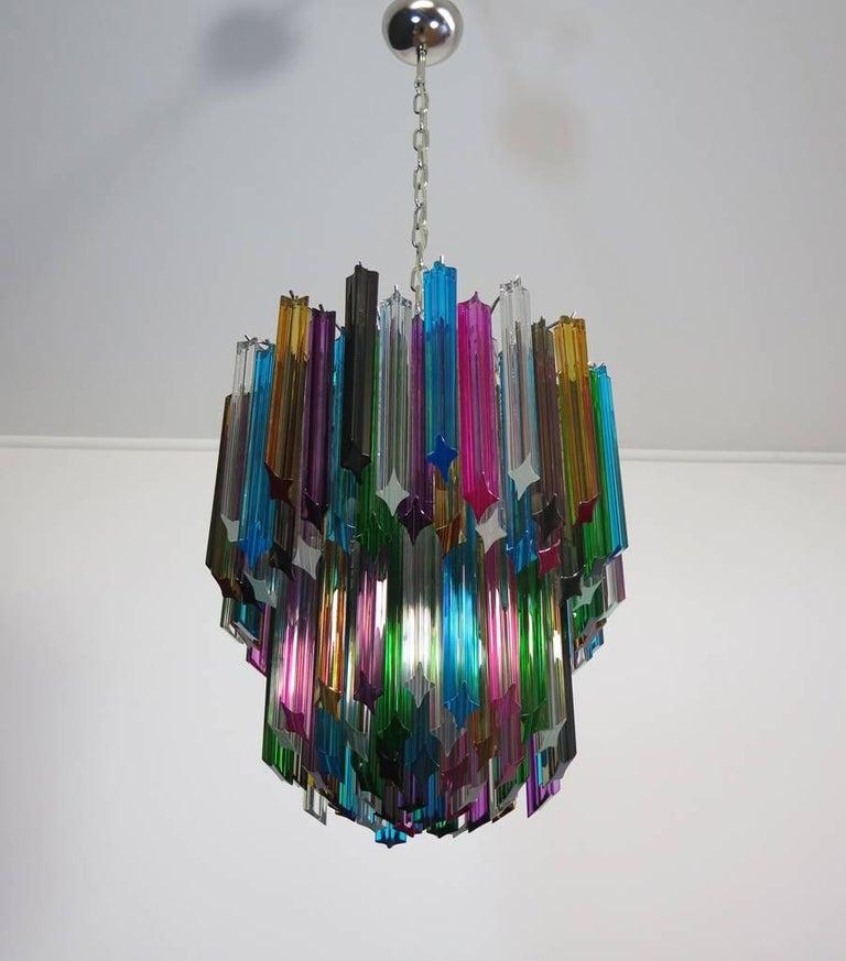 Blown Glass Murano Big Chandelier, 107 Transparent Prism Quadriedri, Elena Model For Sale