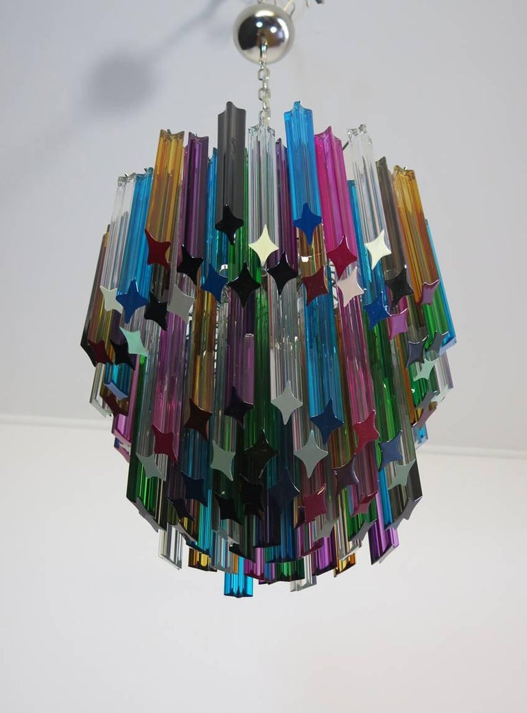 Murano Big Chandelier, 107 Transparent Prism Quadriedri, Elena Model For Sale 1