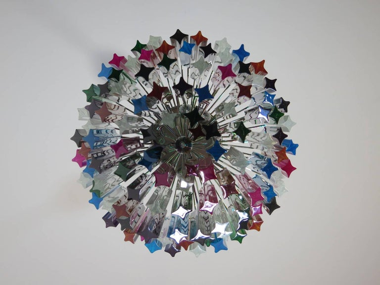Murano Big Chandelier, 107 Transparent Prism Quadriedri, Elena Model For Sale 2