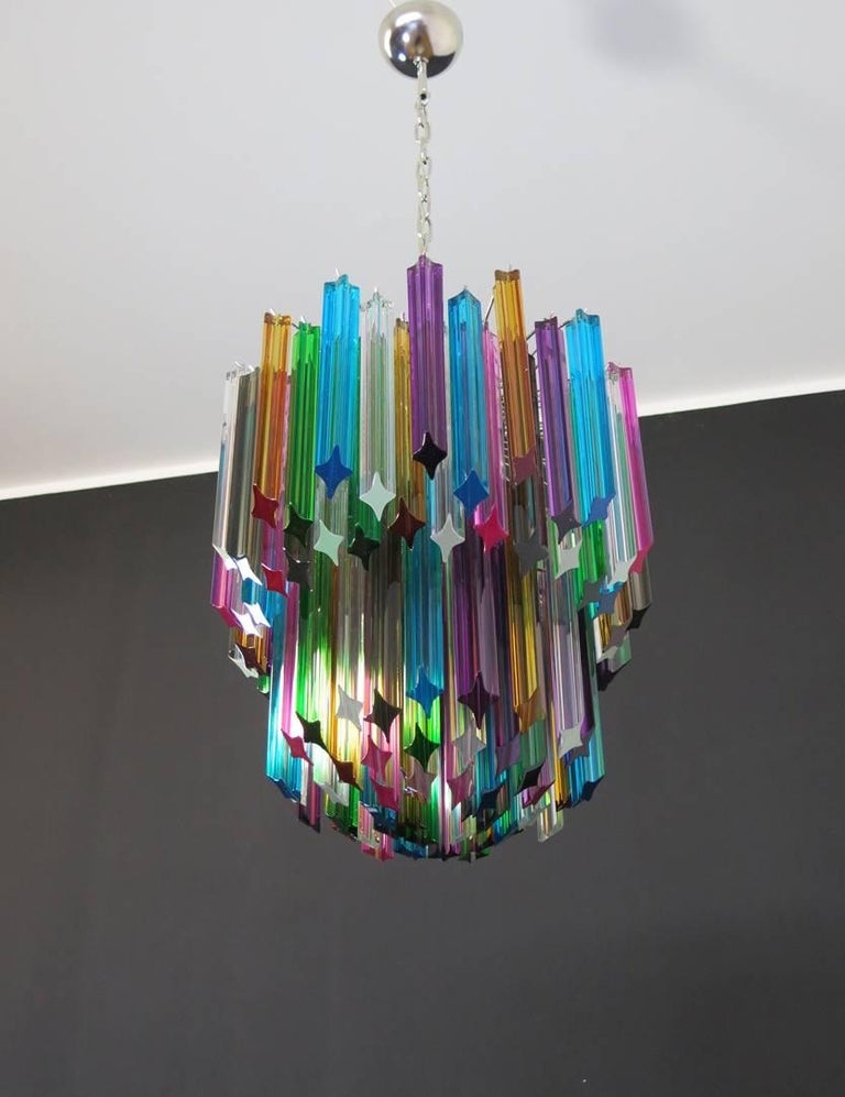 Murano Big Chandelier, 107 Transparent Prism Quadriedri, Elena Model For Sale 3