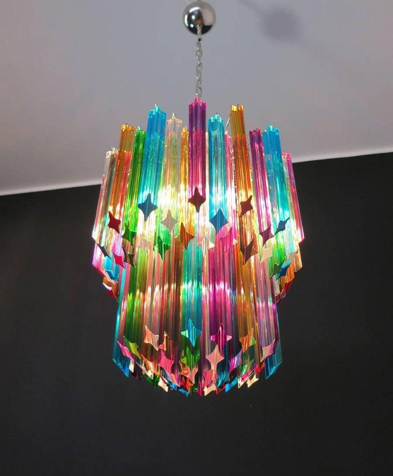 Murano Big Chandelier, 107 Transparent Prism Quadriedri, Elena Model For Sale 4
