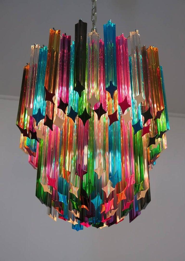 Murano Big Chandelier, 107 Transparent Prism Quadriedri, Elena Model For Sale 5