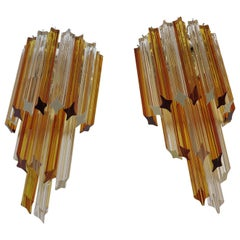 Pair of Vintage Murano Wall Sconce, 32 Quadriedri Amber and Transparent Prism