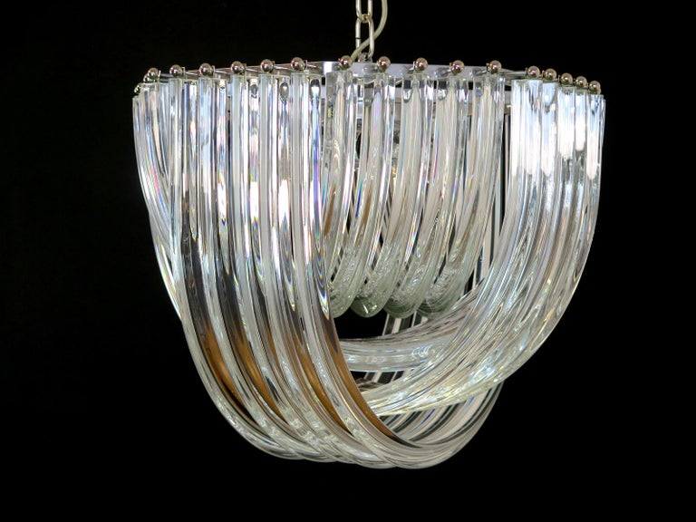 Late 20th Century Large Curvati Chandelier, Transparent Triedri, 20 Murano Glasses