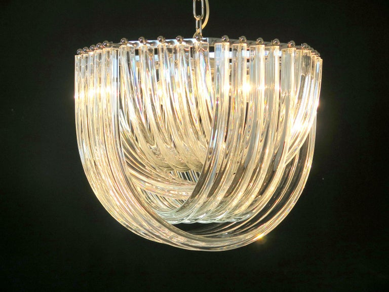 Large Curvati Chandelier, Transparent Triedri, 20 Murano Glasses 2