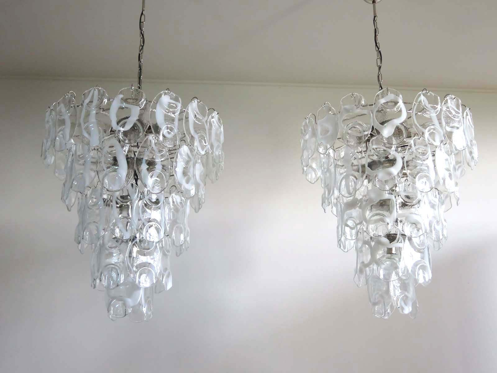 Pair of huge vintage italian murano chandelier lamp by vistosi 50 pair of huge vintage italian murano chandelier lamp by vistosi 50 glasses at 1stdibs aloadofball Choice Image