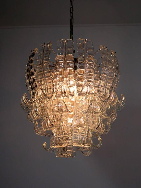 Italian Murano Six Tier Felci Glass Chandelier By Barovier