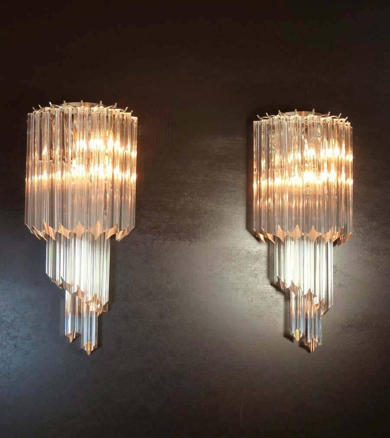 Pair of Vintage Murano Wall Sconce 32 Quadriedri Trasparent Prism For Sale at 1stdibs