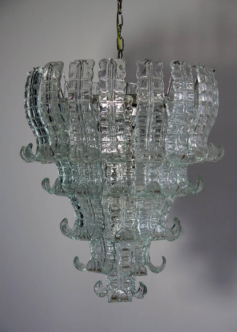 Mid-Century Modern Italian Murano Six-Tier Felci Glass Chandelier, 52 Glasses