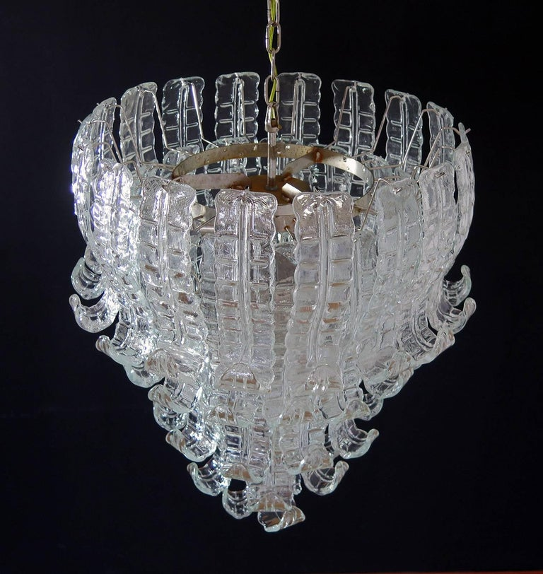 Italian Murano Six-Tier Felci Glass Chandelier, 52 Glasses In Good Condition In Gaiarine Frazione Francenigo (TV), IT