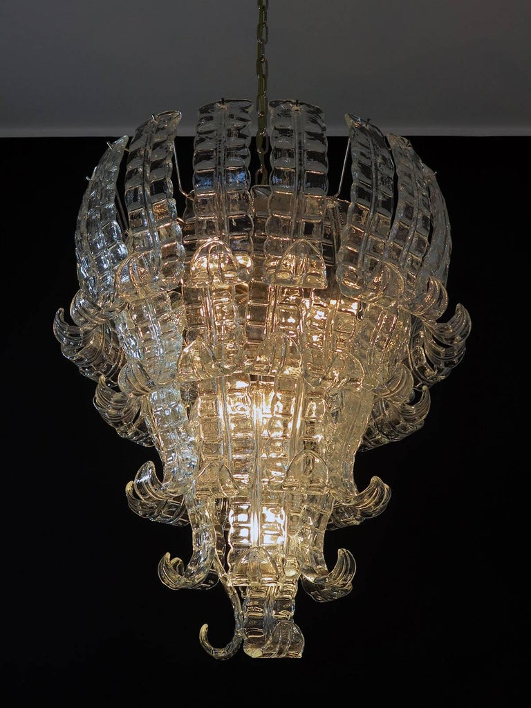 Blown Glass Italian Murano Six-Tier Felci Glass Chandelier, 52 Glasses