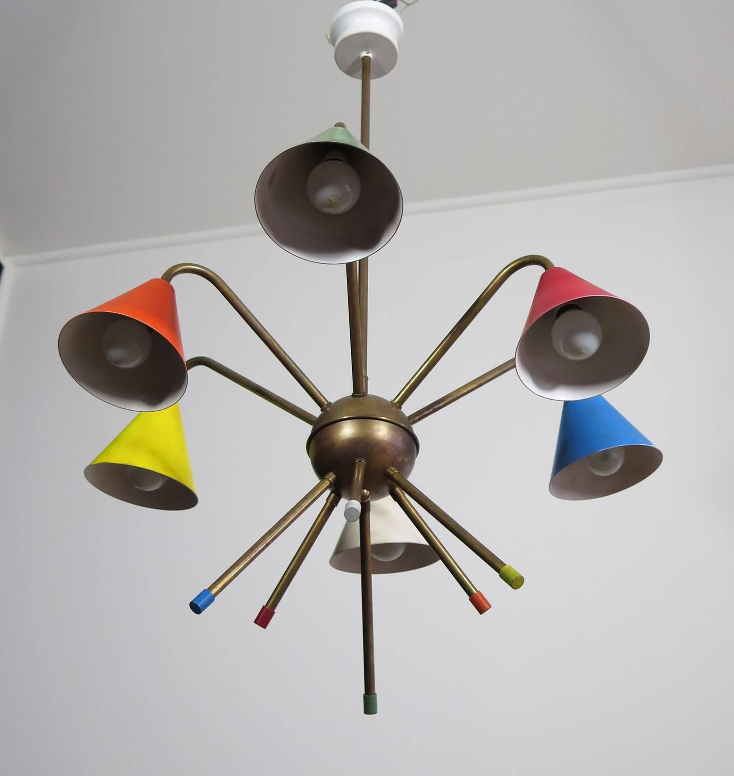 1950s italian atomic chandelier in the style of angelo lelli six 1950s italian atomic chandelier in the style of angelo lelli six cups for sale at 1stdibs arubaitofo Image collections