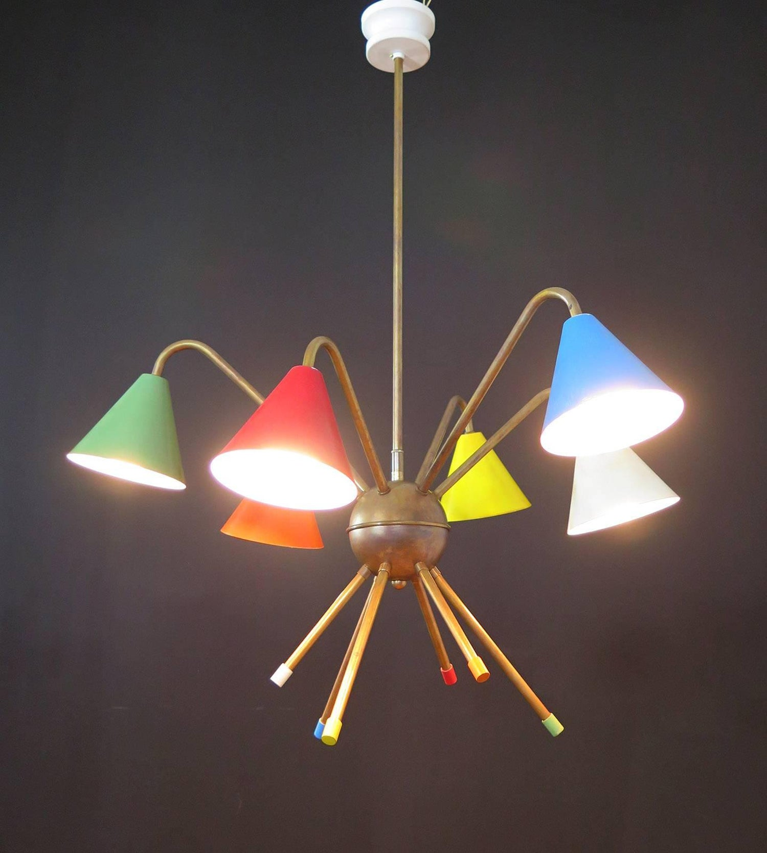 1950s italian atomic chandelier in the style of angelo lelli six 1950s italian atomic chandelier in the style of angelo lelli six cups for sale at 1stdibs arubaitofo Choice Image