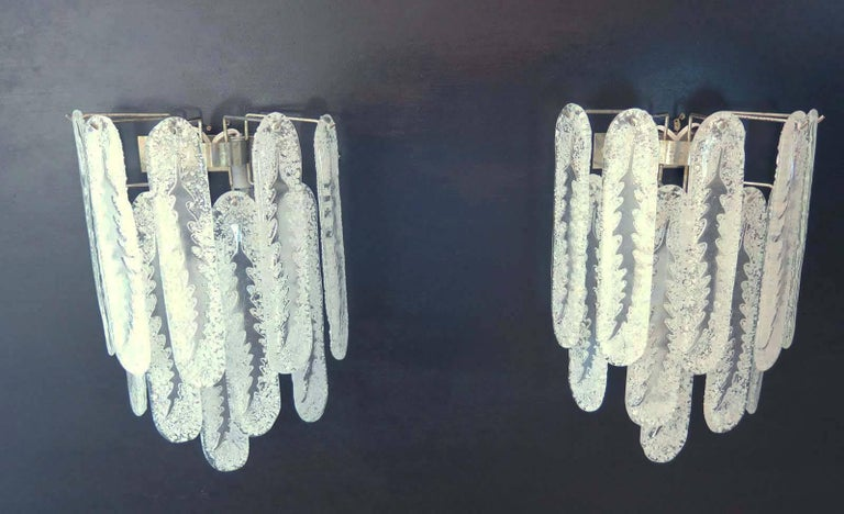 Italian Pair of Vintage Murano Wall Sconce by Mazzega