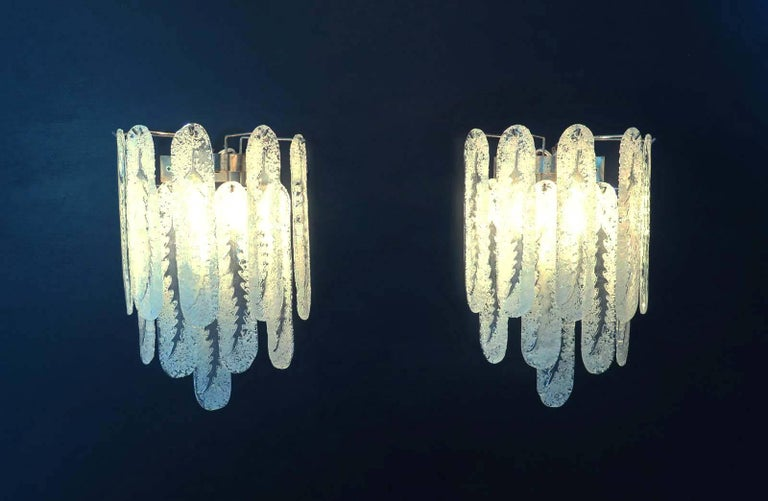 Blown Glass Pair of Vintage Murano Wall Sconce by Mazzega