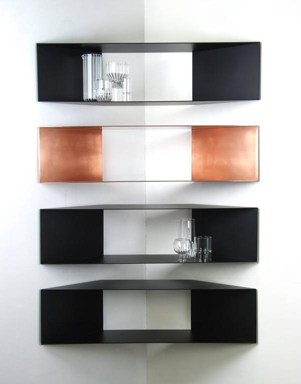 Modern Contemporary Minimal Sculptural Metal Black And Copper Corner Shelves In Stock For Sale