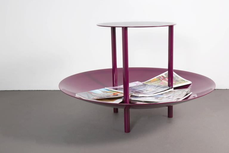 Aluminum Contemporary Powder-Coated Magazine Rack Side Table and Catchall Yellow In Stock For Sale