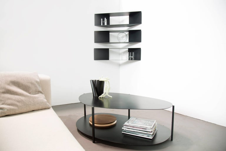 Modern Contemporary Minimal Sculptural Metal Black Corner Shelf, USA, in Stock For Sale