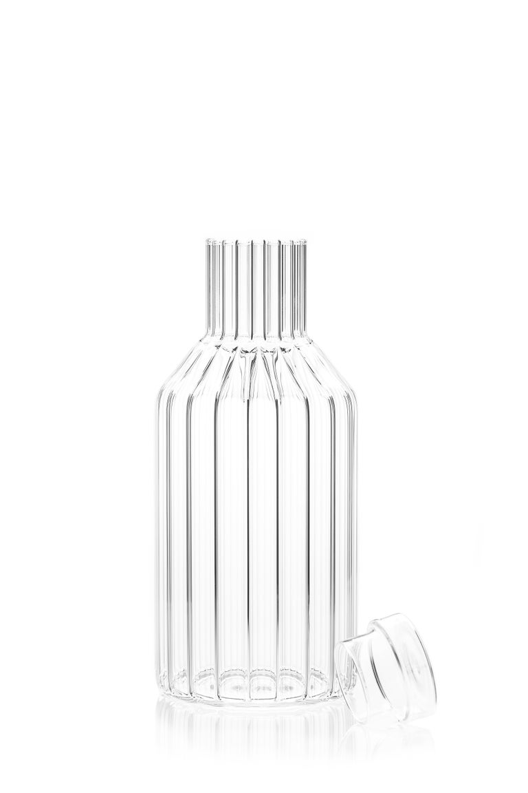 Hand-Crafted Czech Clear Contemporary Fluted Glass Boyd Bedside Carafe with Glass, in Stock For Sale
