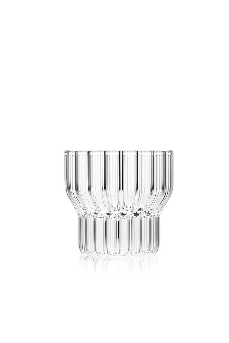 Modern Czech Clear Contemporary Fluted Glass Boyd Bedside Carafe with Glass, in Stock For Sale