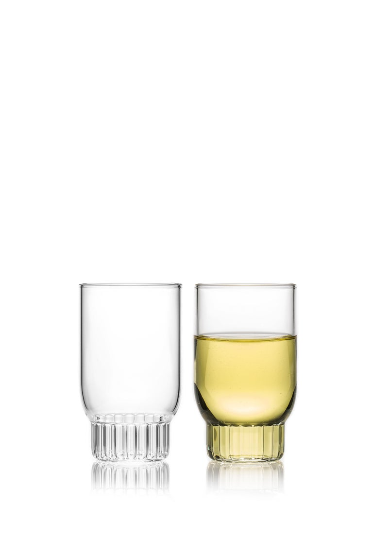 Rasori small glasses, set of two  As the designer's favourite street in Milan, her home away from home, the clear Czech contemporary Rasori Small glasses are a playful and delicate combination of materials and form, just like the city itself. A