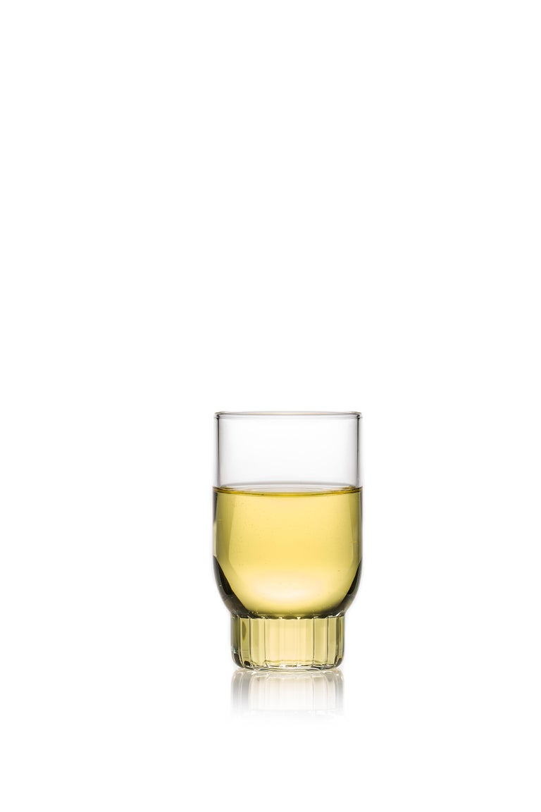 Modern Set of Two Czech Clear Contemporary Rasori Small Wine Glasses, in Stock For Sale