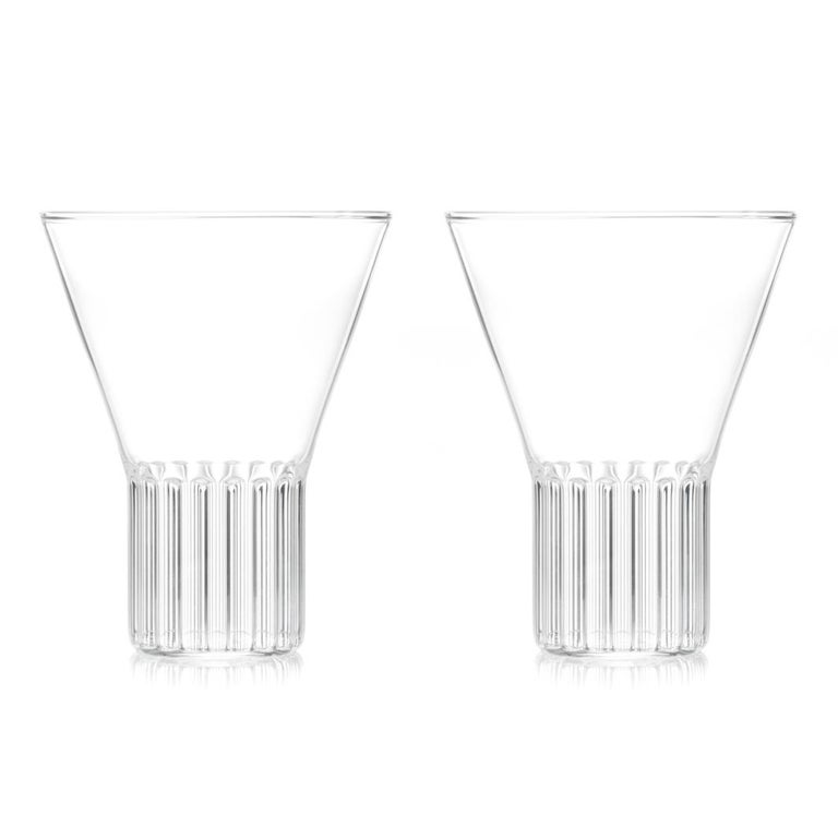 Modern Set of Two Handcrafted Czech Clear Contemporary Rila Large Glasses, in Stock For Sale