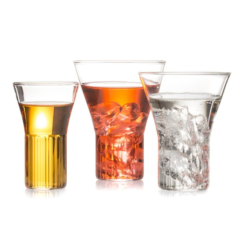Hand-Crafted Set of Two Handcrafted Czech Clear Contemporary Rila Medium Glasses, in Stock For Sale