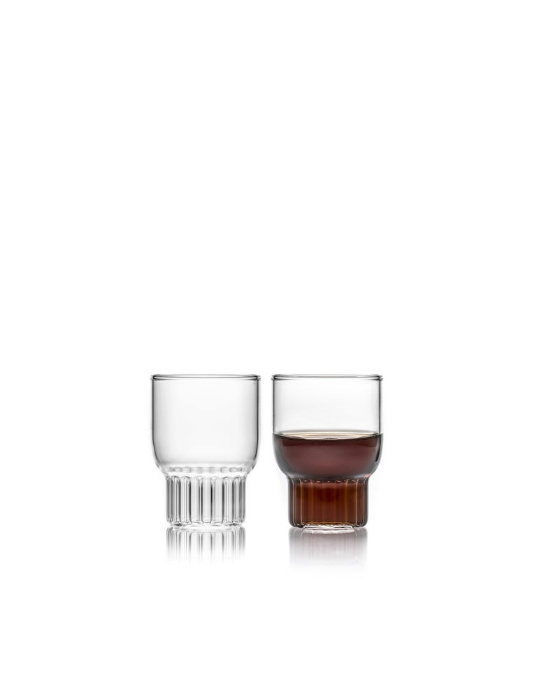 Rasori mini glasses, set of two  As the designer's favorite street in Milan, her home away from home, the clear Czech contemporary Rasori Mini glasses are a playful and delicate combination of materials and form, just like the city itself. A