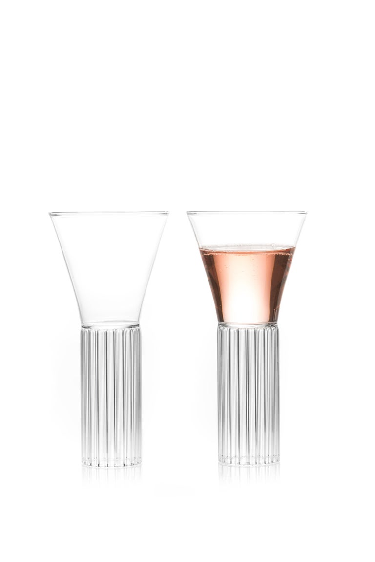 Sofia medium cocktail wine glasses, set of two.  With the elegance of a forgotten time, the clear Czech contemporary Sofia collection glasses are a series of barware ideal for beverages from wine and water to martinis and other libations.
