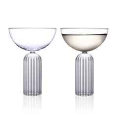 Pair of Czech Contemporary May Champagne Coupe Glasses Handmade, in Stock