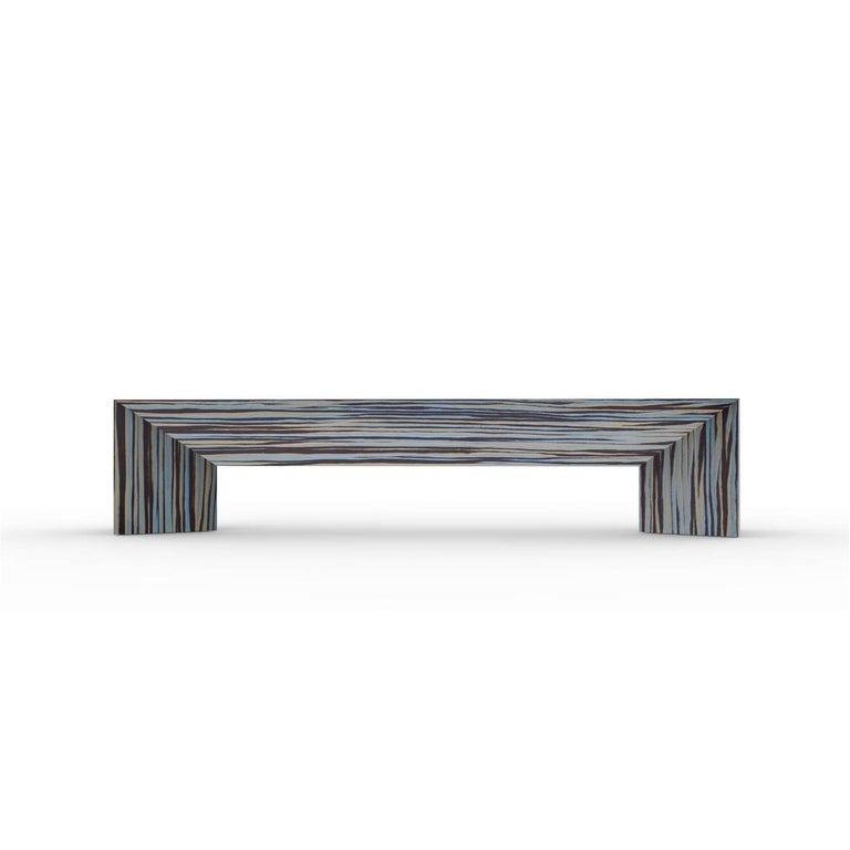 American Contemporary Minimal Limited Edition Ecowood Multicolored Veneer Tuck Bench, USA For Sale
