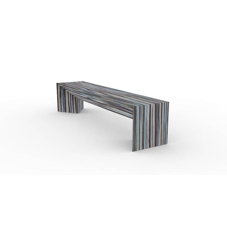 Modern Contemporary Minimal Limited Edition Ecowood Multicolored Veneer Tuck Bench, USA For Sale