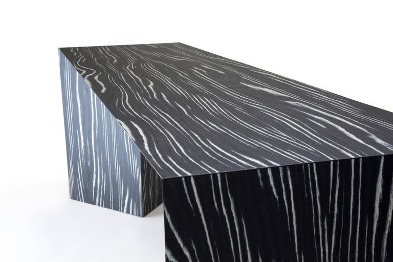 Contemporary Minimal Black and White Ecowood Veneer Fold Bench, USA In New Condition For Sale In Chicago, IL