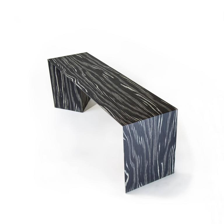 Contemporary Minimal Black and White Ecowood Veneer Fold Bench, USA For Sale 2