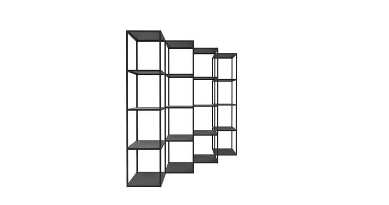 Conceived as a minimal and contemporary bookcase to breakup the plane of the wall, this modular system, is versatile as a modern room divider as well as a backdrop in any space, be it a residence or office space. This system begins with a minimum of