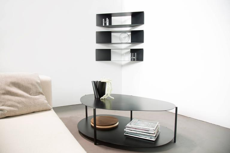 American Contemporary Minimal Sculptural Metal Black and Copper Corner Shelves For Sale