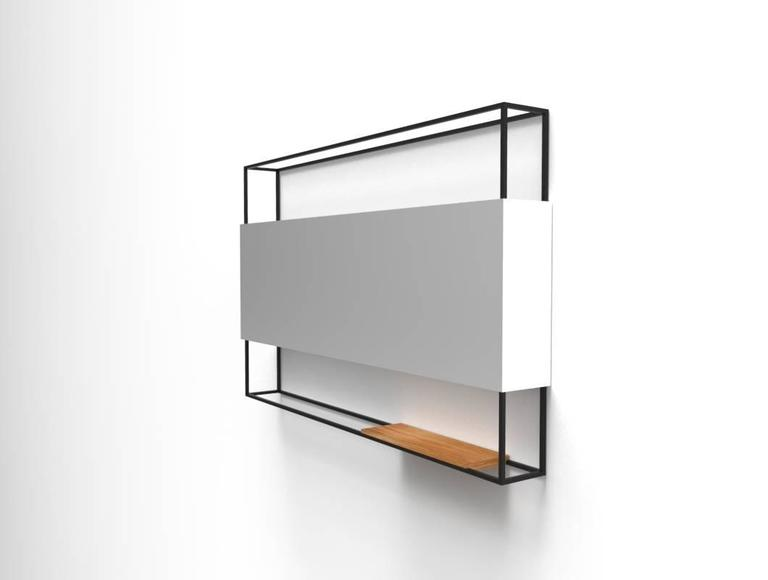 Modern Black Horizontal Frame Minimal Contemporary Mirror with Movable Oak Shelf For Sale