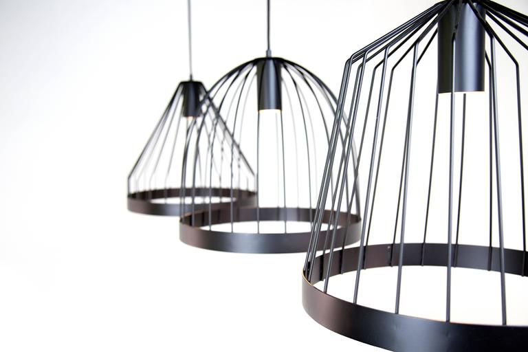 Powder-Coated UL Contemporary Concealed Led Black Steel Pendant Light, USA, In Stock Shape